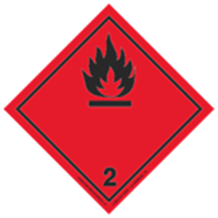 GHS Class 2 (Black Flame) Label Transport Pictogram 2 in