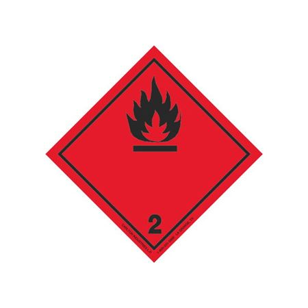 GHS Class 2 (Black Flame) Label Transport Pictogram 4 In