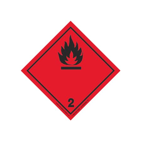 "GHS Class 2 (Black Flame) Label Transport Pictogram 2"""