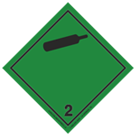 GHS Class 2 Non-Flammable Gas (Black Cylinder) Label Transport Pictogram 2 Inch