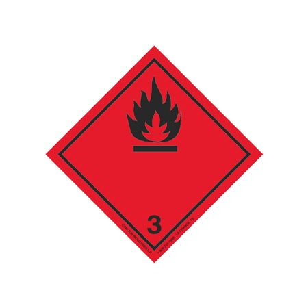 "GHS Class 3 Flamm. Liq. (Black Flame) Transport Pictogram 4"""
