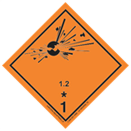 GHS Class 1 Explosive 1.2 Label Transport Pictogram 2 Inch