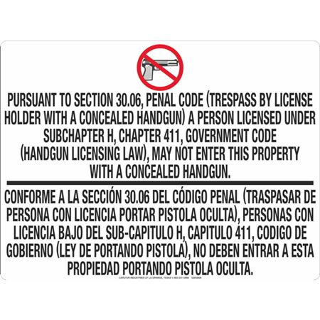 30.06 No Concealed Carry - .040 Aluminum Sign 18 in. x 24 in.