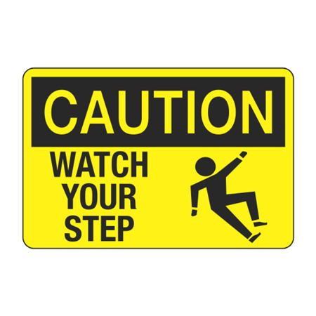 Caution Watch Your Step Decal - Yellow Graphic