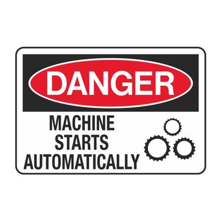 Danger Machine Starts Automatically Decal