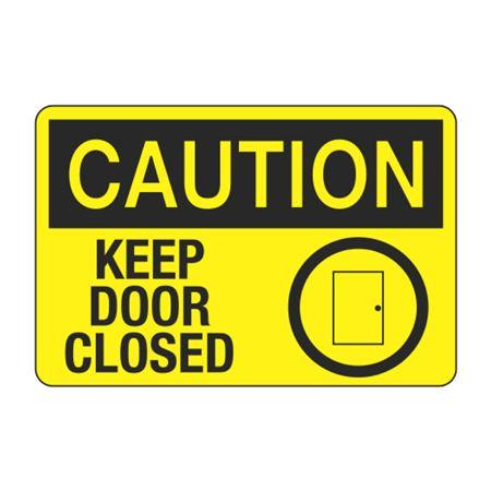 Caution Keep Door Closed Decal