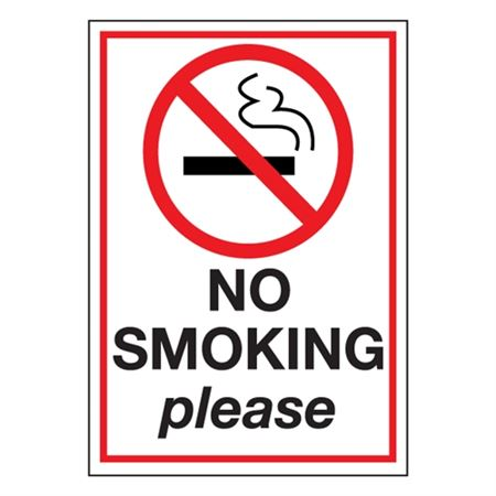 No Smoking Please Sign