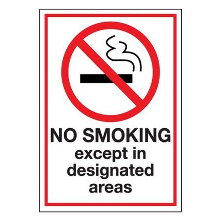 No Smoking Except in Designated Area Sign