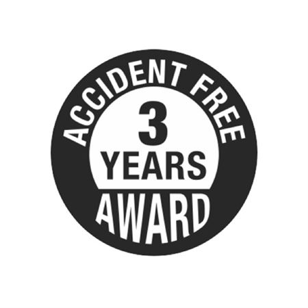 Accident Free 3 Years Award Hard Hat Decal