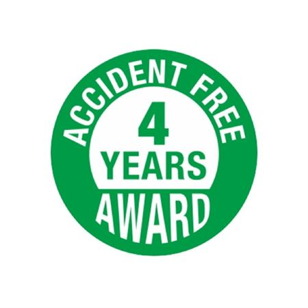 Accident Free 4 Years Award Hard Hat Decal
