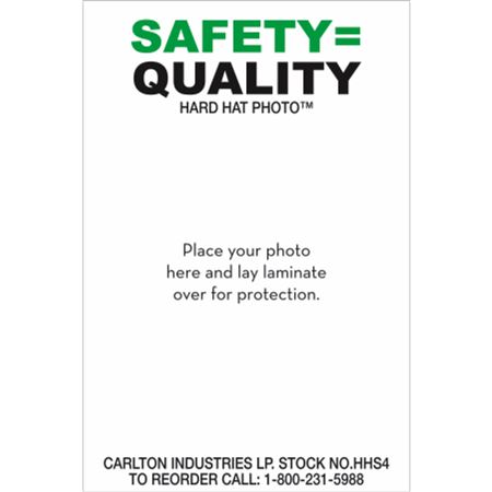 "PK/50 Safety=Quality 3""x2"" Personalized Hard Hat Decal"