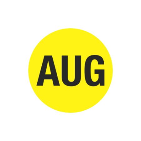 Printed Stock Hot Labels - Aug - Yellow 1.5 x 1.5
