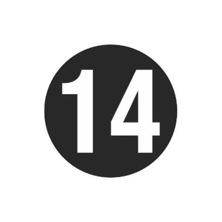 Printed Stock Hot Labels - #14 - Black - 1 1/2 dia.