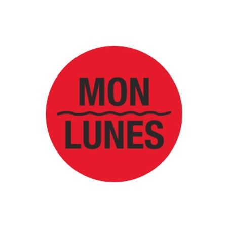 Printed Stock Hot Labels - Mon / Lunes - Red 1.5 x 1.5