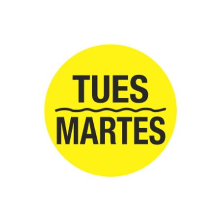 Printed Stock Hot Labels - Tues / Martes - Yellow 1.5 x 1.5