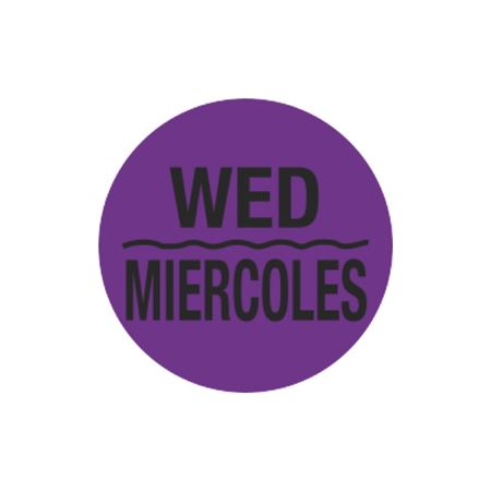 Printed Stock Hot Labels - Wed/Miercoles - Purple - 1 1/2 dia.