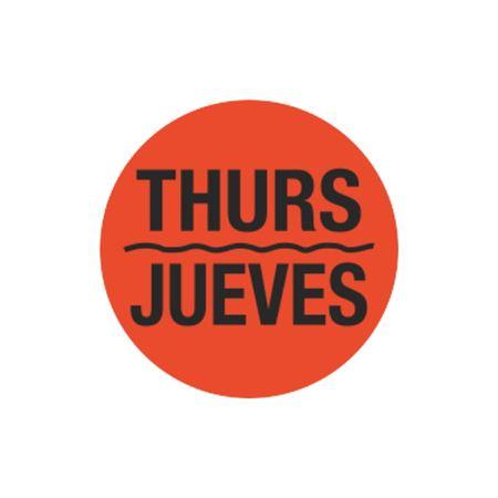 Printed Stock Hot Labels - Thurs / Jueves - Orange 1.5 x 1.5
