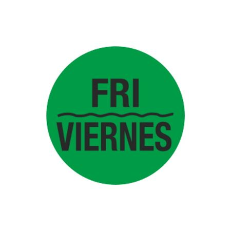 Printed Stock Hot Labels - Fri / Viernes - Green 1.5 x 1.5