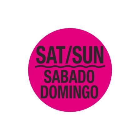 Printed Stock Hot Labels - Sat / Sun / Sabado Domingo - Pink 1.5 x 1.5