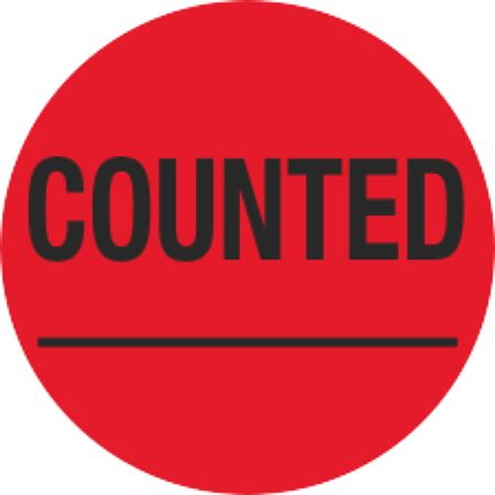 Inventory Control Labels - Counted ____ - Red 1.5 x 1.5