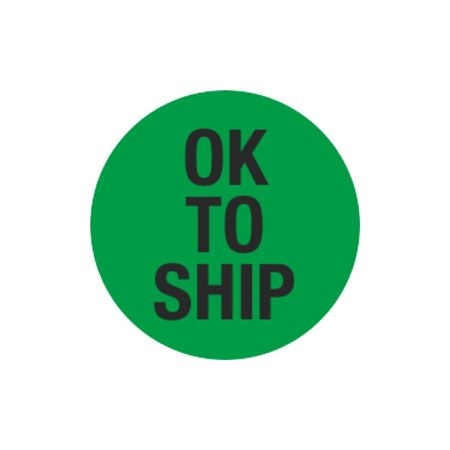 Inventory Control Labels - Ok To Ship - Green 1.5 x 1.5