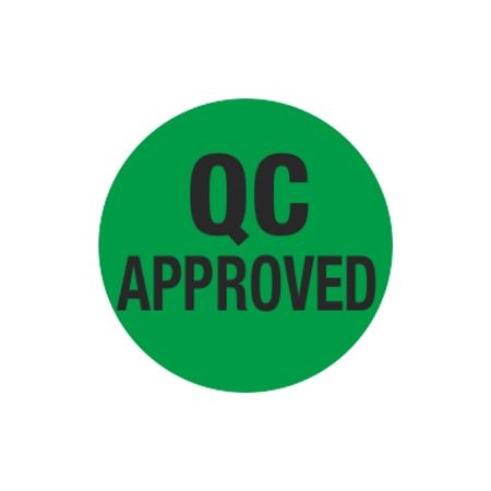 Inventory Control Labels - QC Approved - Green 1.5 x 1.5