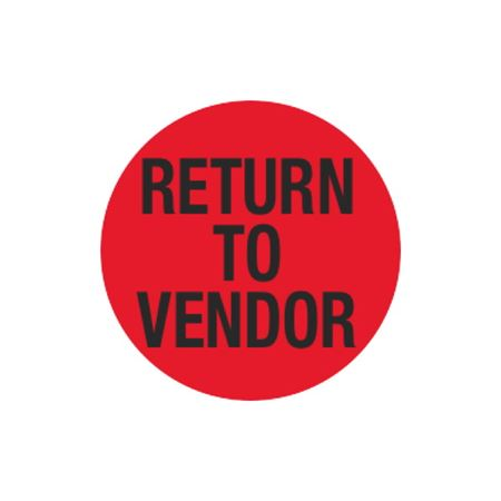 Inventory Control Labels - Return To Vendor - Red 1.5 x 1.5