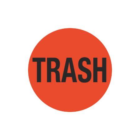Inventory Control Labels - Trash - Orange - 1 1/2 dia.
