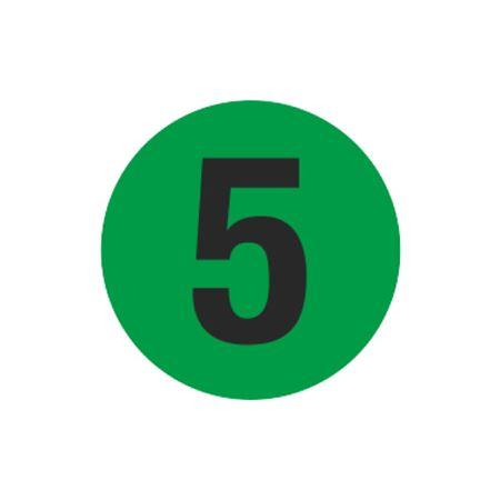 Printed Stock Hot Labels - #5 - Green - 1 1/2 dia.