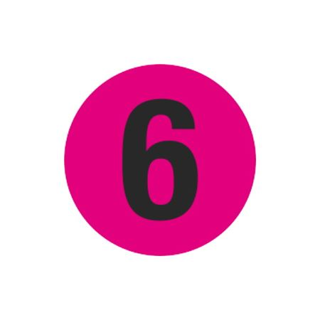 Printed Stock Hot Labels - #6 - Pink 1.5 x 1.5