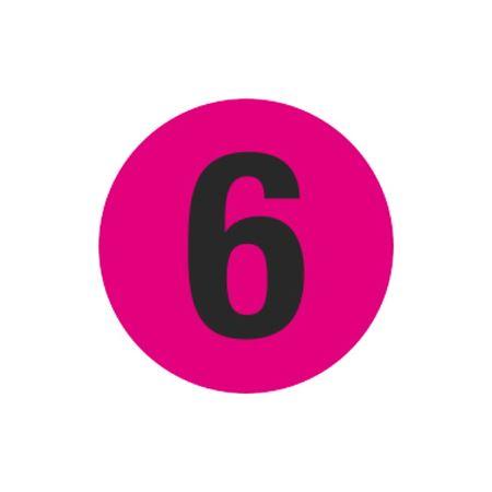 Printed Stock Hot Labels - #6 - Pink - 1 1/2 dia.