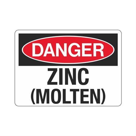Danger Zinc (Molten) (Hazmat) Sign