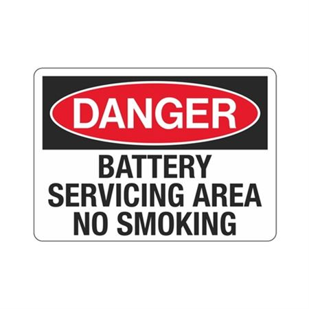 Danger Battery Servicing Area No Smoking Sign