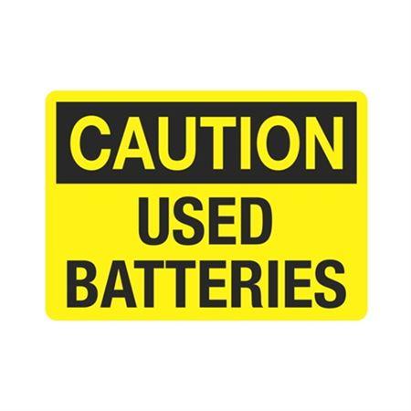 Caution Used Batteries (Hazmat) Sign