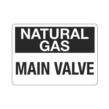 Natural Gas Main Valve (Hazmat) Sign