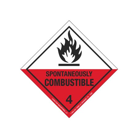 Spontaneously Combustible Shipping Label - Vinyl Stock Roll of 500 4 x 4