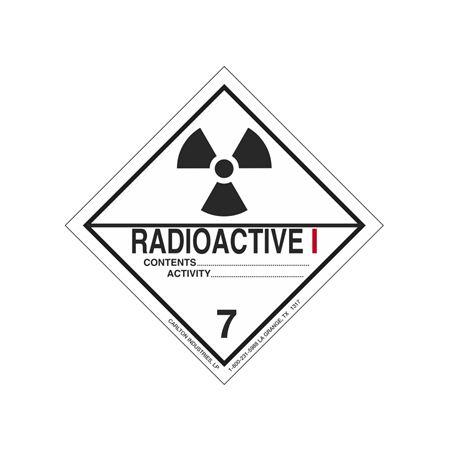 Radioactive I Shipping Label - Vinyl Stock Roll of 500 4 x 4