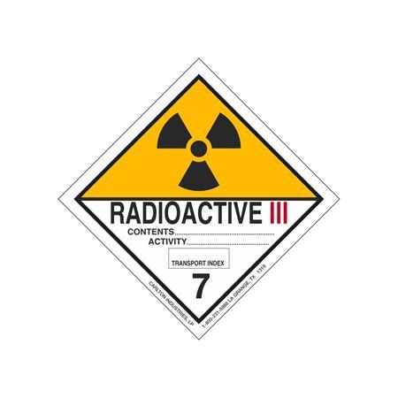 Radioactive III Shipping Label