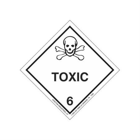 Toxic Shipping Label - Vinyl Stock Roll of 500 4 x 4