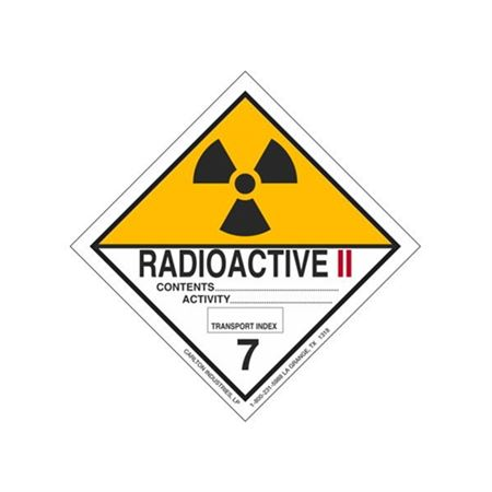 Radioactive II Shipping Label