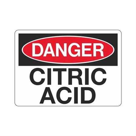 Danger Citric Acid Sign
