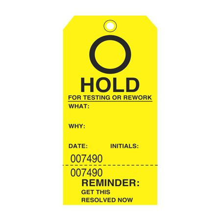 HOLD For Testing Or Rework Tag 3 1/8 x 6 1/4