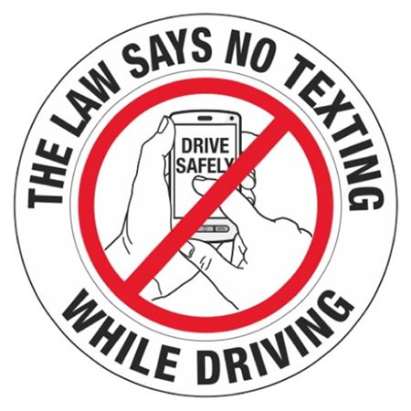 """No Texting While Driving - 3"""" Diameter Decal"""