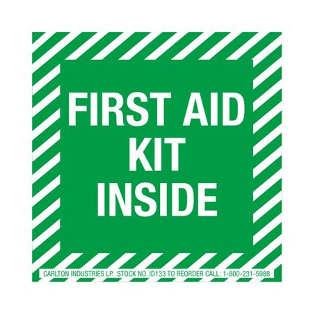 Safety Decals - First Aid Kit Inside 4 x 4