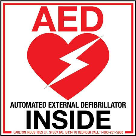Safety Decals - AED Inside 4 x 4