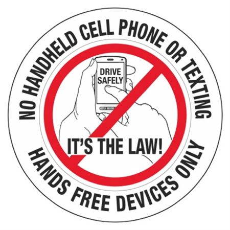 "No Handheld Cell Phone/Texting Its the Law! Decal 3"" Dia."