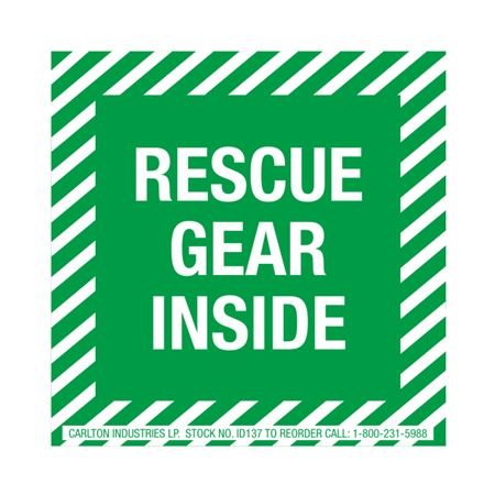 Safety Decals - Rescue Gear Inside 4 x 4