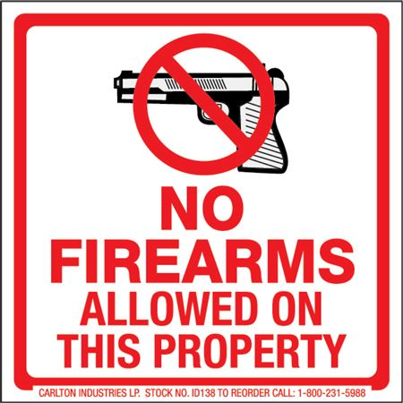 Safety Decals - No Firearms 4 x 4
