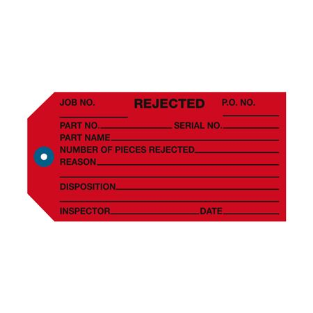 Inspection and Repair Tags - Rejected - Red 2 3/8 x 4 3/4