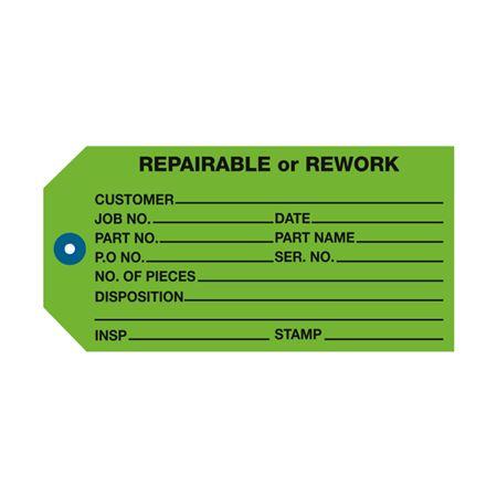 Repairable Or Rework Repair Tag  PK/100  Green